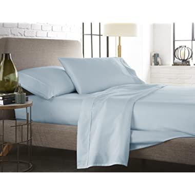 Westbrooke Linens 500 Thread Count 100% Long-Staple Cotton Pleated Hem Sheet Set, Solid Sateen Weave, Wrinkle Free, Elastic Deep Pocket, Hotel Collection, Luxury Bedding Sheet Set (Queen, Blue Sky)