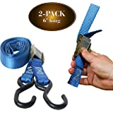 "2 Motorcycle Kayak Tie-Down Cam Straps 1"" x 6' Strong TieDown Straps with Durable Polyester and Vinyl-Coated S Hooks, Tie Down Cargo 