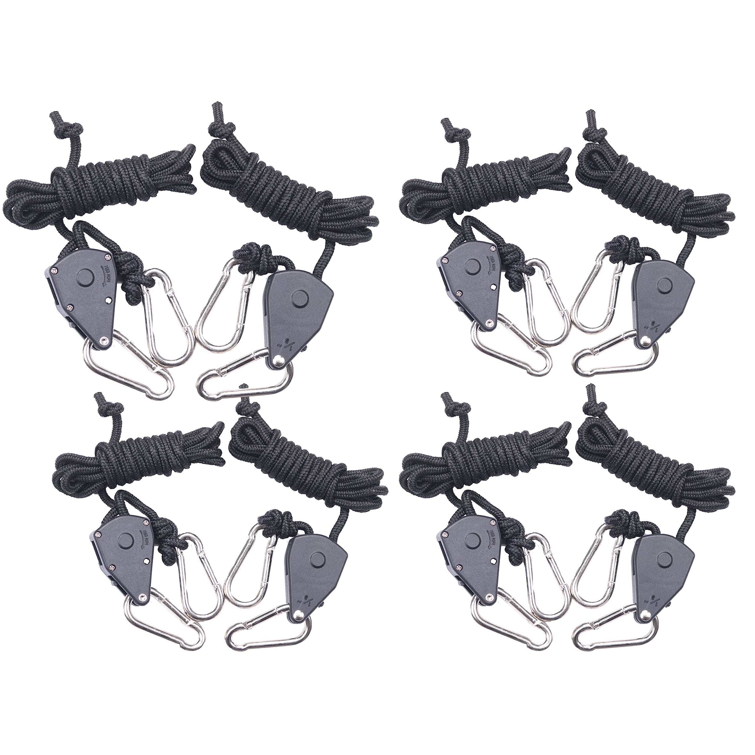 4-Pairs Zazzy 1/8 Inch Heavy Duty Adjustable Grow Light Rope Clip Hanger Rope Hanger