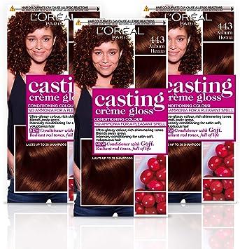 L Oréal Paris Casting Creme Gloss – Tinte de pelo, color 443 Auburn Henna, pack de 3
