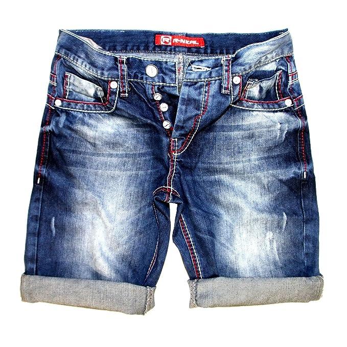 ahorrar 334e3 a6b83 R-Neal 7612 Grosor Costura Azul Jeans Capri Corto Hombre ...