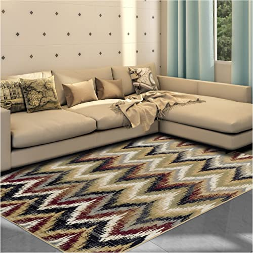 Superior 8mm Pile Height with Jute Backing, Designer Inspired Ikat Chevron Pattern, Fashionable and Affordable Woven Rugs, 8 x 10 Rug, Red
