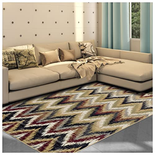 Superior 8mm Pile Height with Jute Backing, Designer Inspired Ikat Chevron Pattern, Fashionable and Affordable Woven Rugs, 4 x 6 Rug, Red