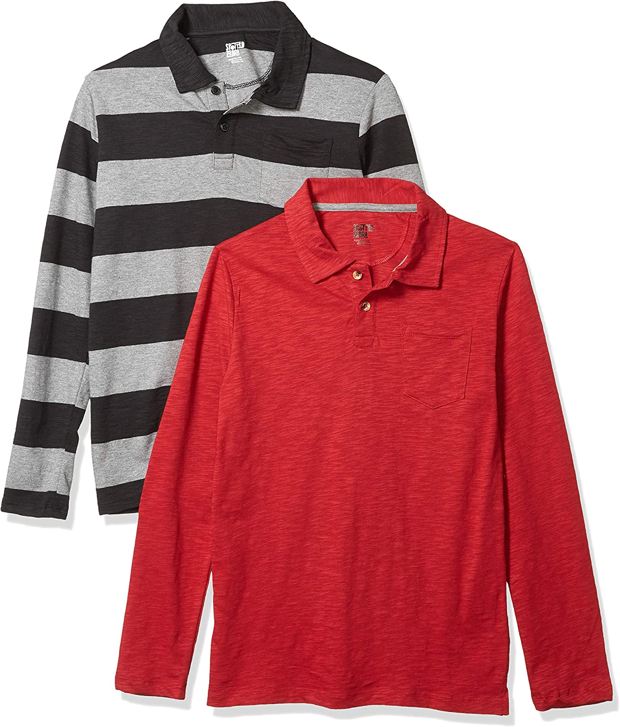 Spotted Zebra Boys Toddler /& Kids 2-Pack Long-Sleeve Polo Shirts