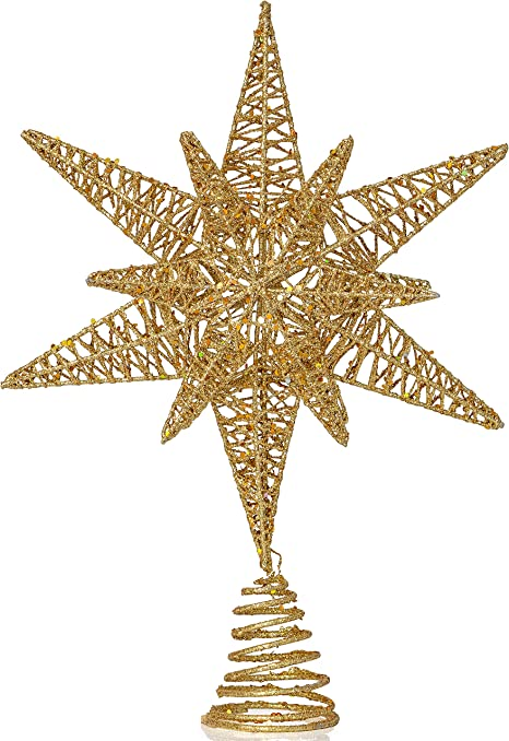Gold Glittered Star-Shaped Ornament.Sparkling Swirly Buy $10=Free Shipping!