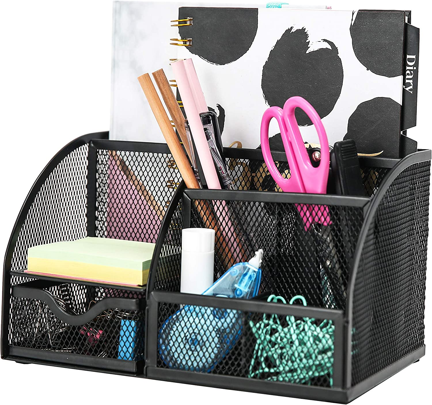 Exerz Mesh Desk Organizer Office with 6 Compartments + Drawer/Desk Tidy Candy/Pen Holder/Multifunctional Organizer EX348 Black