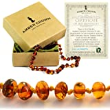 Amber Teething Necklace for Babies - Anti Inflammatory, Drooling and Teething Pain Reducing Natural Remedy - Made of Highest Quality Certified Baltic Amber - Perfect Baby Shower Gift - (Honey)