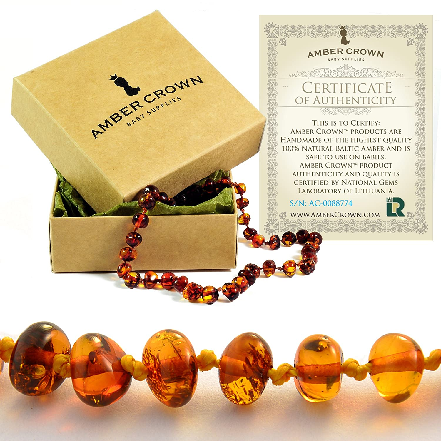 Baltic Amber Teething Necklace for Babies - Anti Inflammatory, Drooling and Teething Pain Reducing Natural Remedy - Polished Greenish Certified Baltic Amber Beads AMBER CROWN