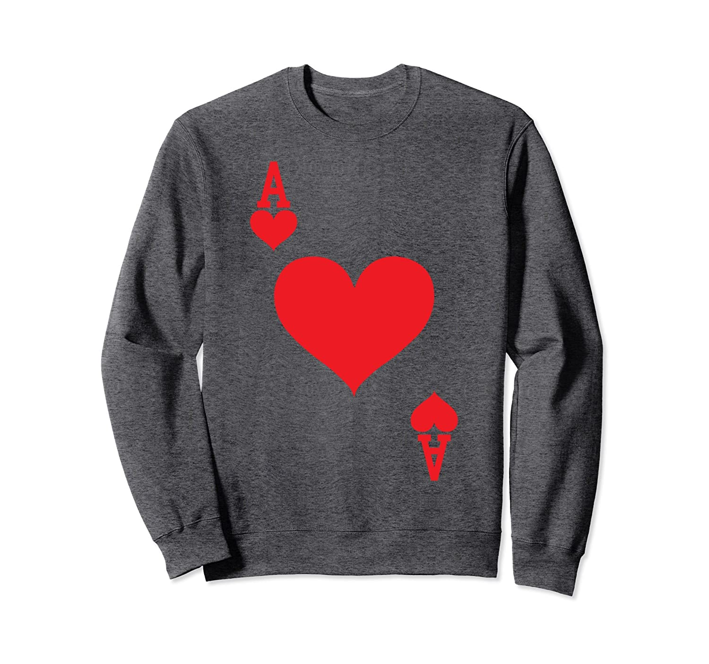 Ace of Hearts - Playing Card Halloween Costume Sweatshirt-mt