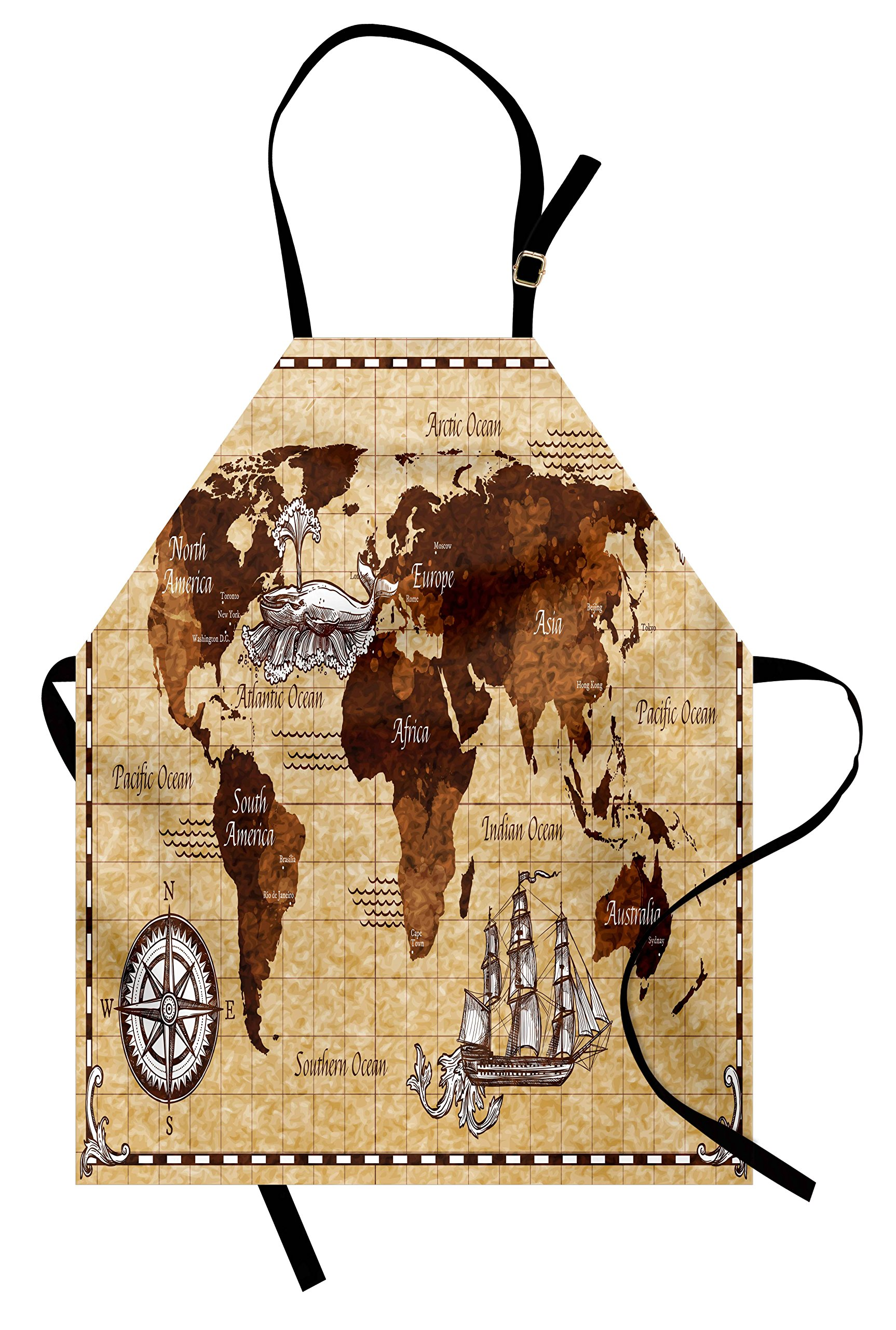 Ambesonne Map Apron, Hand Drawn Sketch Retro World Map with Lettering Old Historic Artwork Print, Unisex Kitchen Bib Apron with Adjustable Neck for Cooking Baking Gardening, Brown and Sand Brown