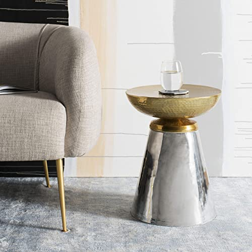 Safavieh Home Dov Gold and Nickel Drum Side Table
