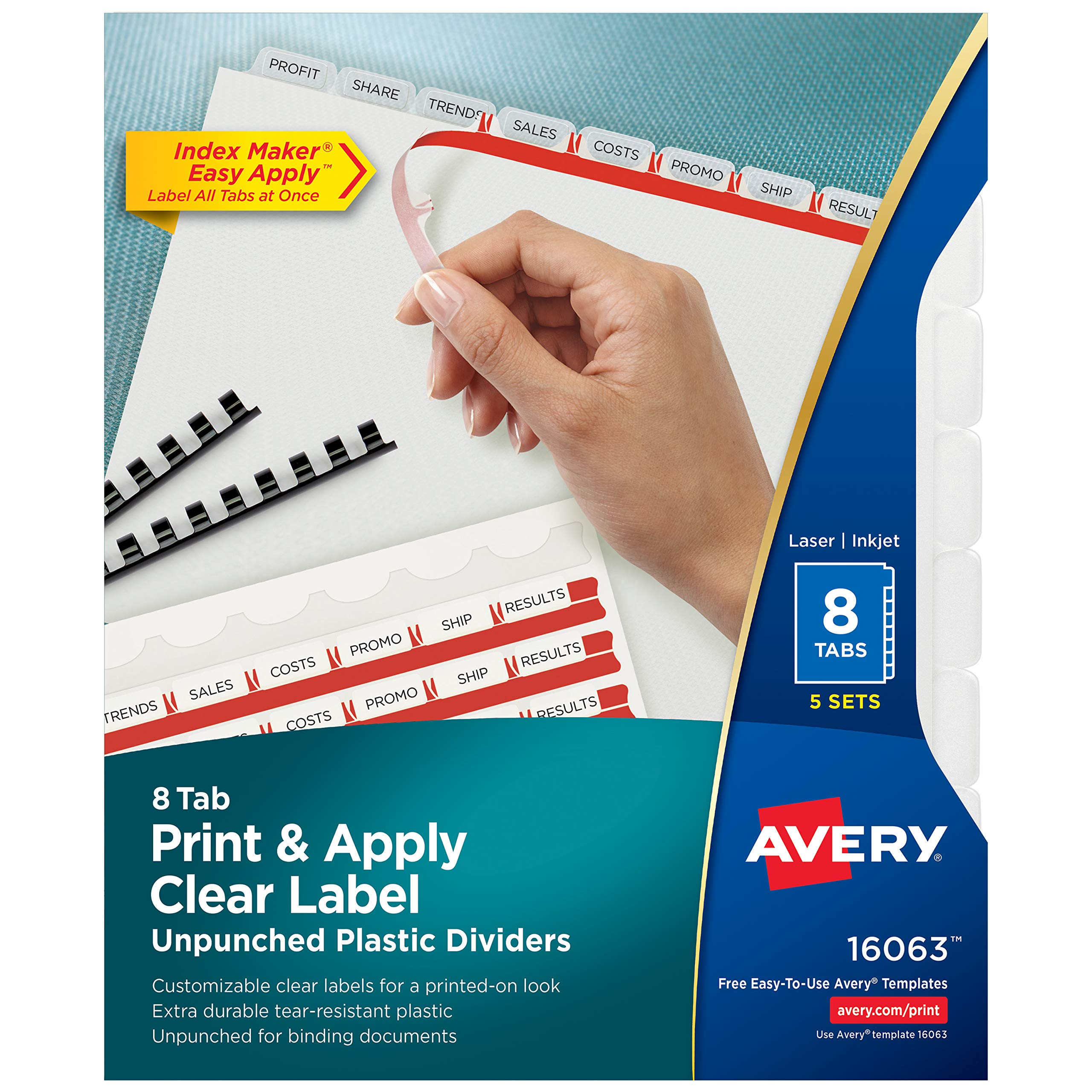Avery 8-Tab Unpunched Plastic Dividers, Easy Print & Apply Clear Label Strip, Index Maker, 5 Sets (16062)