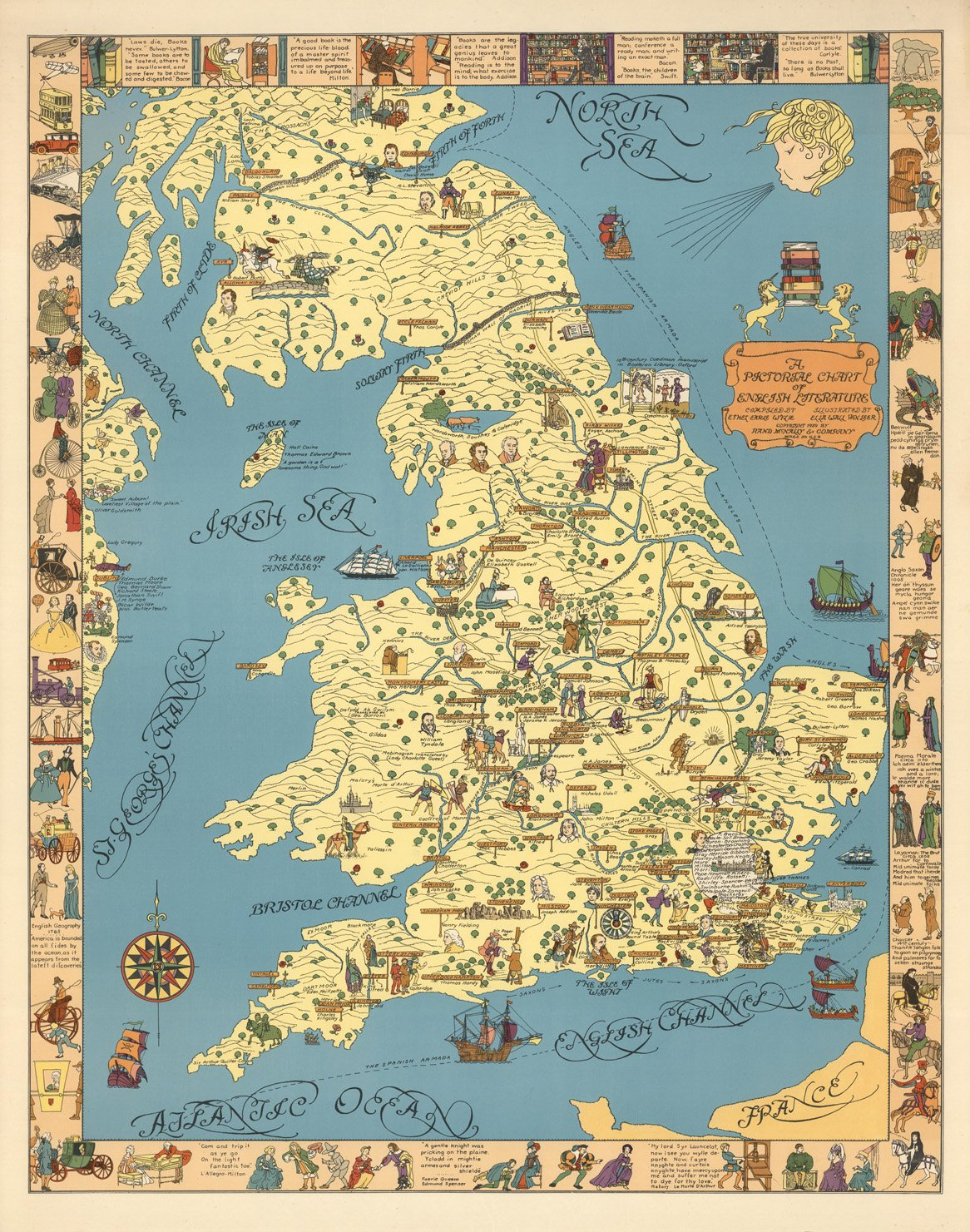 Literature Map Of The World.Amazon Com Map Poster A Pictorial Chart Of English Literature