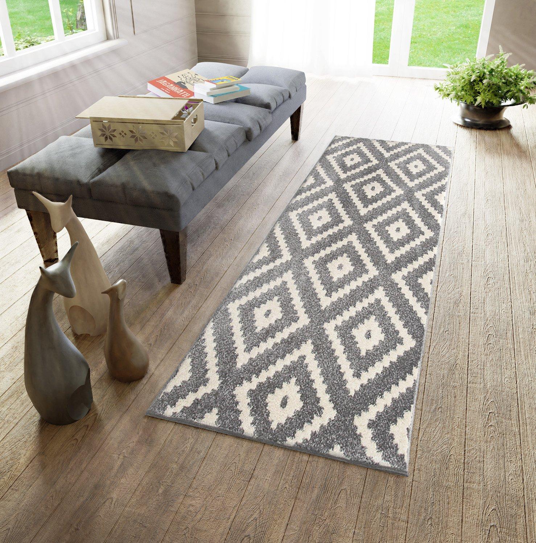 Läufer Teppich Brücke Teppichläufer Modern - Orientalisches Marokkanische - Flur Modern Teppichläufer Designer Muster Meterware - Casablanca Kollektion von Carpeto - Schwarz Weiß - 80 x 275 cm 795380
