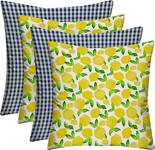RSH D cor Indoor Outdoor Blue Mix Set of 4-17 x 17 Square Pillow Set Weather Resistant – Choose Pillow Color 2-Citrus Squeeze Yellow Lemon 2-Dawson Lapis Blue Farmhouse Check Plaid