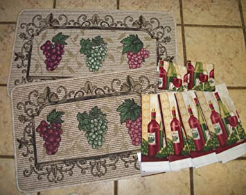 1 X 2 Berber Fruit Kitchen Rugs/MAts With Matching Dish Towels