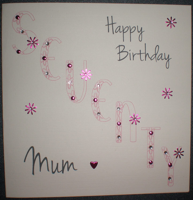 Happy Birthday Card Mum 70th Floral Birthday Handmade Card – Birthday Cards for Mum