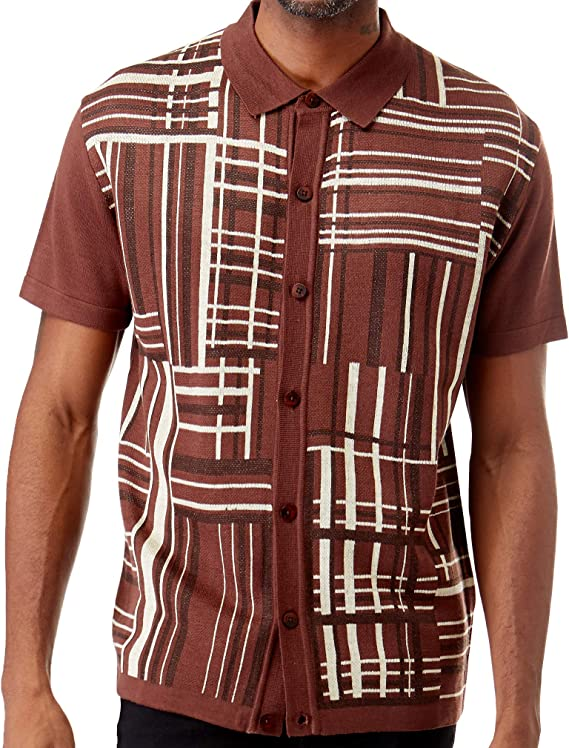 Mens Vintage Shirts – Casual, Dress, T-shirts, Polos Men's Short Sleeve Knit Sports Shirt - Modern Polo Vintage Classics: Plaid Mix $39.00 AT vintagedancer.com