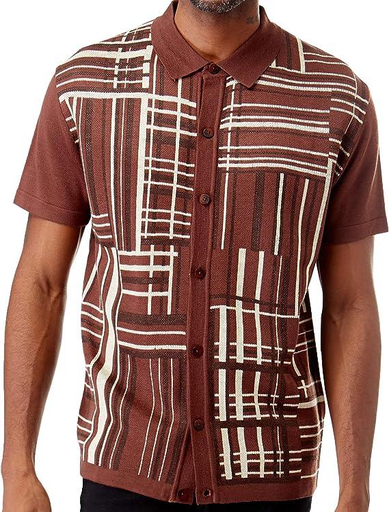 1950s Men's Clothing Men's Short Sleeve Knit Sports Shirt - Modern Polo Vintage Classics: Plaid Mix $39.00 AT vintagedancer.com