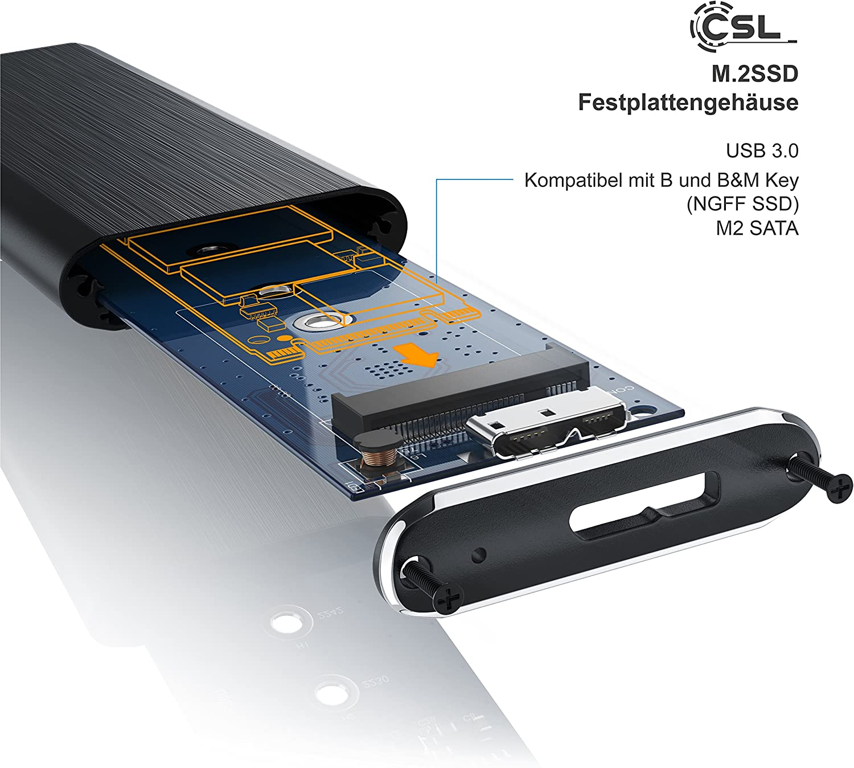 CSL-Computer Caja de disco duro USB 3.0 para adaptador M.2 NGFF ...