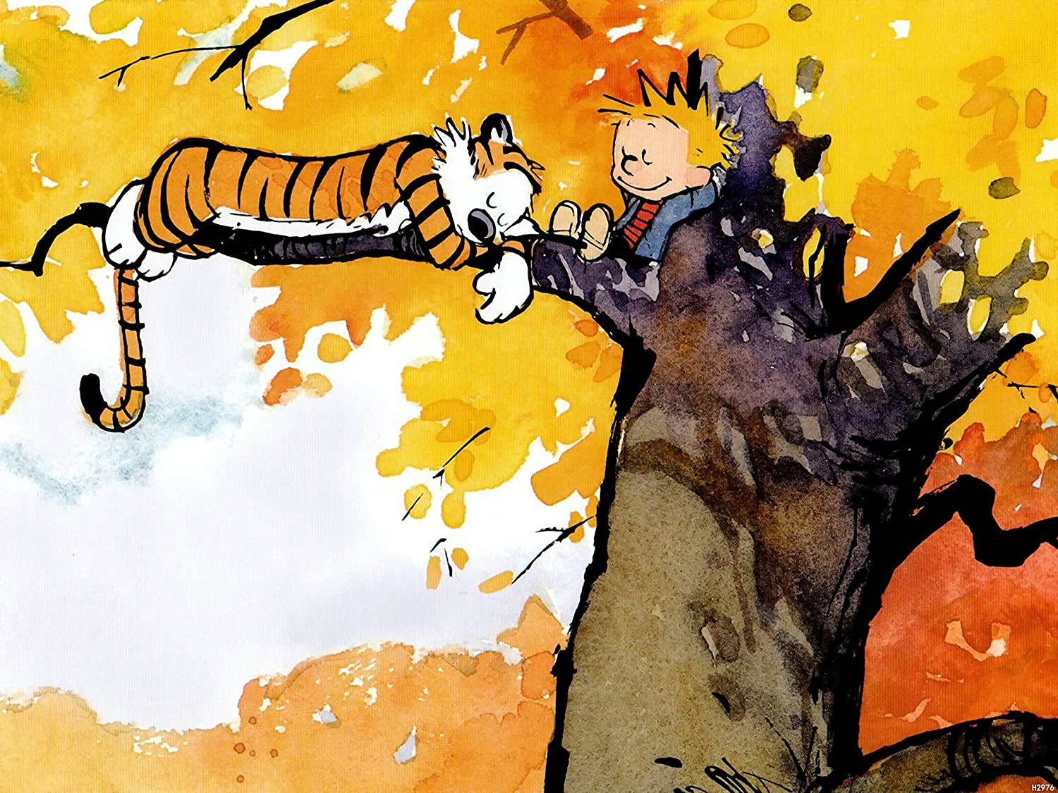Amazon.com: XH2976 Calvin And Hobbes On The Tree HUGE GIANT WALL ...