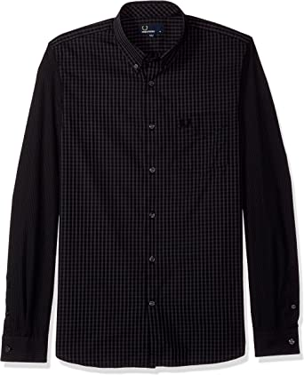 Fred Perry 3353Z Camicia uomo Blue/Black Gingham Shirt Cotton Man: Amazon.es: Ropa y accesorios