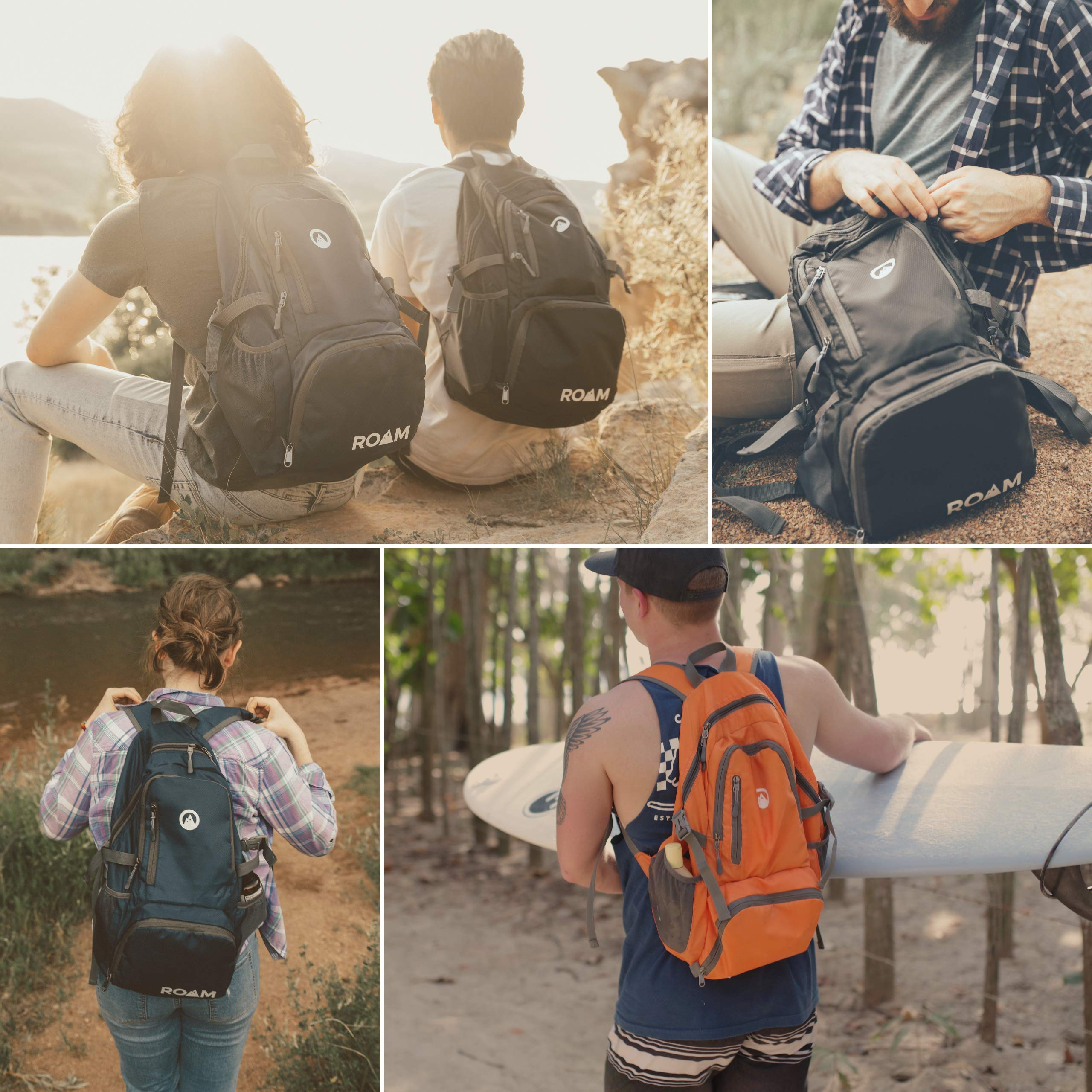 Roam Packable Backpack – Lightweight Foldable Daypack Water-Resistant, 25L, – Durable Tear-Resistant Nylon Weave – Daypack for Travel, Hiking, Backpacking, Camping, Mountaineering, Beach, Outdoors by Roam (Image #7)