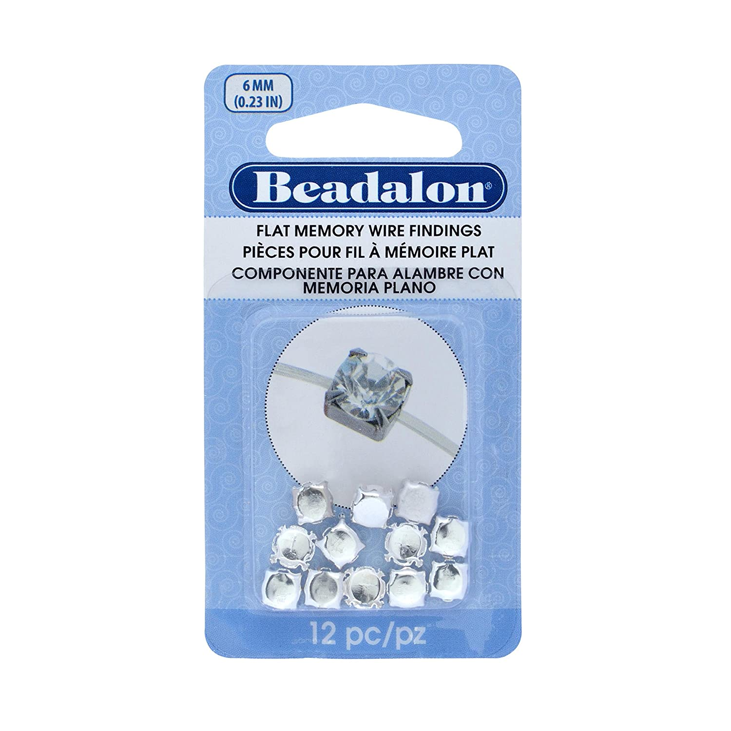 Amazon.com: Beadalon 12-Piece Flat Memory Round Cup 6mm Stone Wire ...