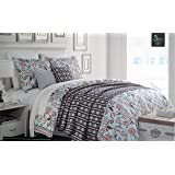 Cynthia Rowley Bedding 3 Piece Duvet Cover Set Jacobean Floral Pattern Pink White Dark Blue Taupe on Sky Blue (King)
