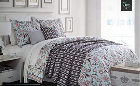 Cynthia Rowley Bedding 3 Piece Duvet Cover Set Jacobean Floral Pattern Pink  White Dark Blue Taupe