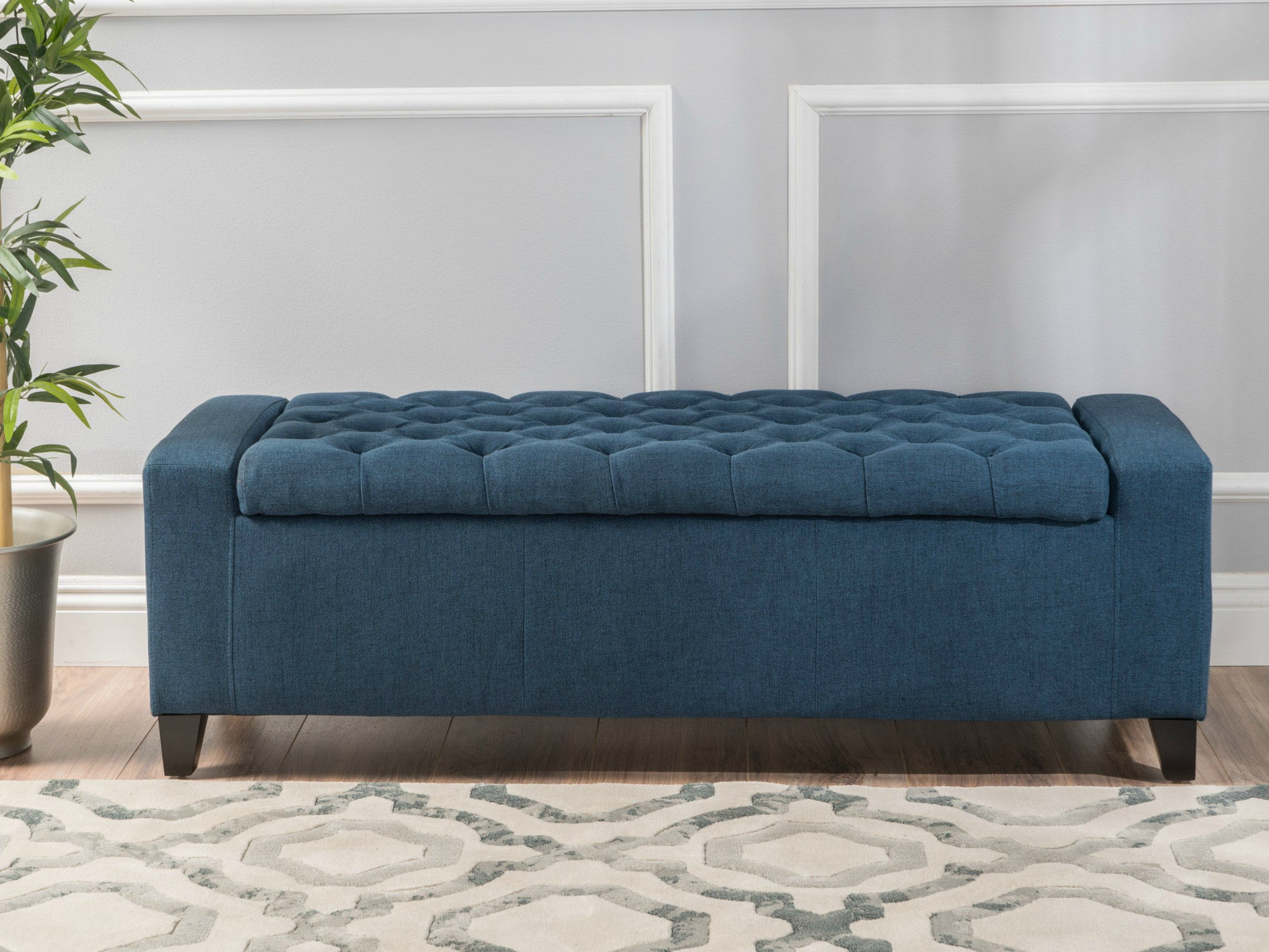 Eco friendly Storage Ottoman Bench Entryway Footstool Button Tufted Chair Blue