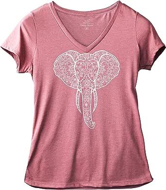 Classy Mood Elephant Tshirt Graphic Floral Yoga Namaste Tee Women V-Neck Shirt