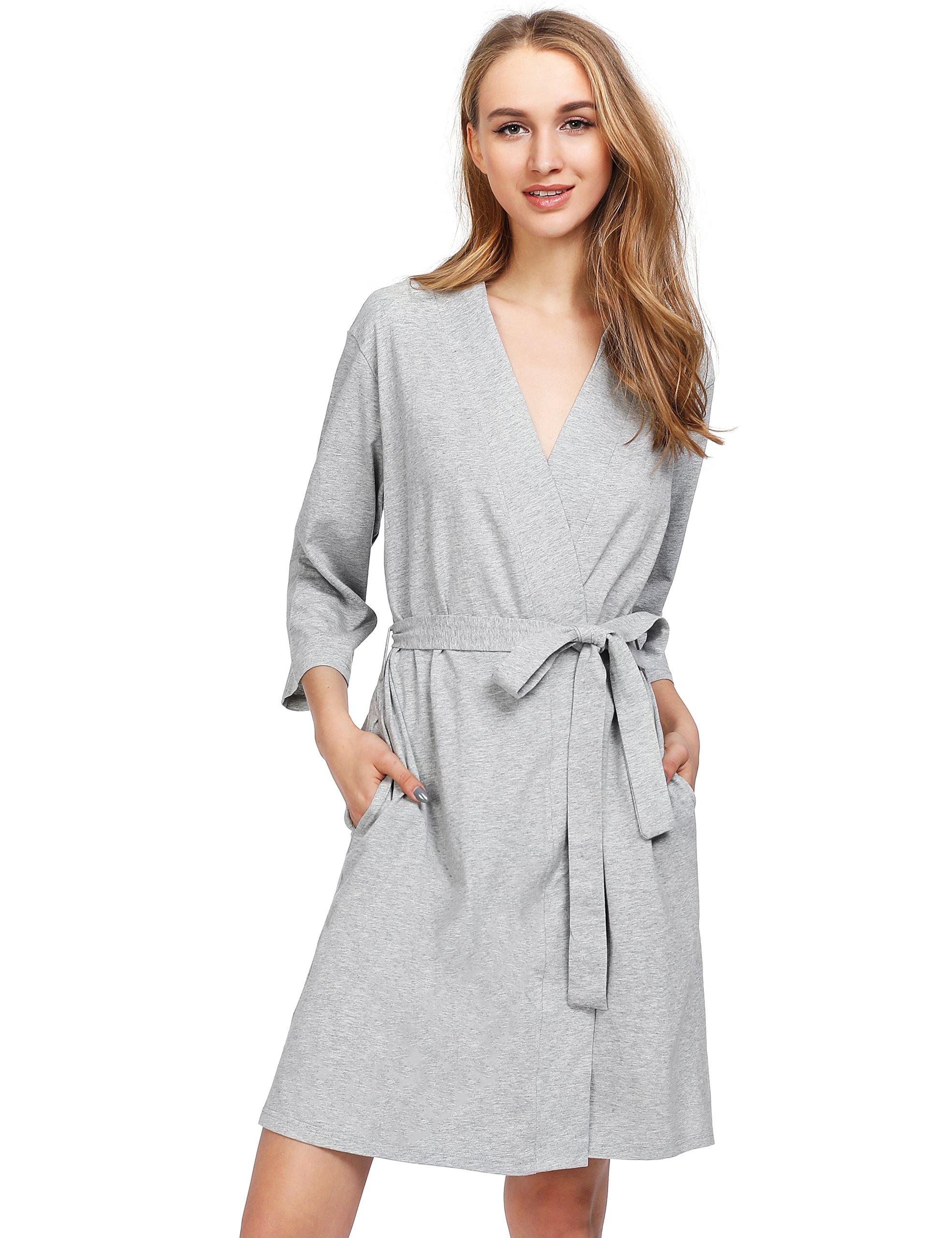 Latuza Women's Cotton Robe 2X Light Gray