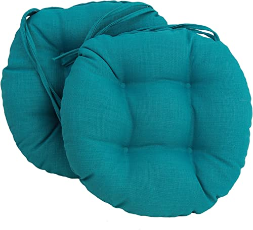 Blazing Needles Spun Polyester Solid Outdoor Round Tufted Chair Cushions Set