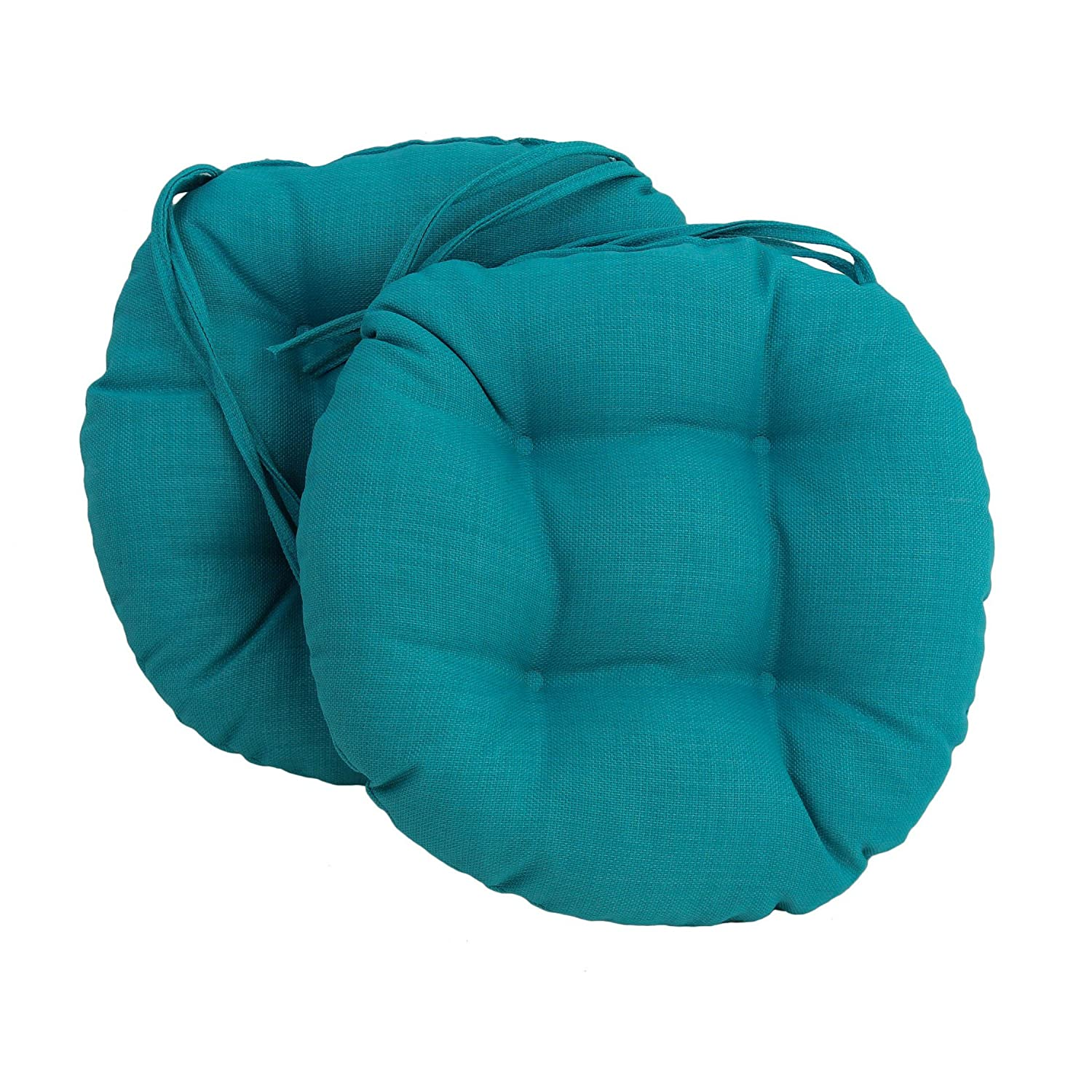 Blazing Needles Spun Polyester Solid Outdoor Round Tufted Chair Cushions Set, Set of 2, 16 , Cocoa
