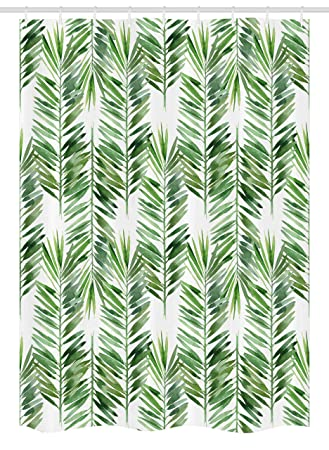 Fabric Bathroom Decor Set with Hooks Watercolor Tropical Tree Branch Evergreen Leaf Featured Artsy Plant Lush Design 54 W x 78 L Inches Green stall/_21012/_54x78 Ambesonne Palm Tree Decor Stall Shower Curtain
