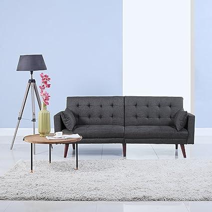 Amazon Com Divano Roma Furniture Modern Tufted Linen Splitback