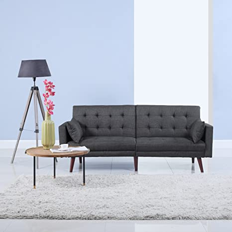 Marvelous Divano Roma Furniture Modern Tufted Linen Splitback Recliner Sleeper Futon Sofa Dark Grey Squirreltailoven Fun Painted Chair Ideas Images Squirreltailovenorg