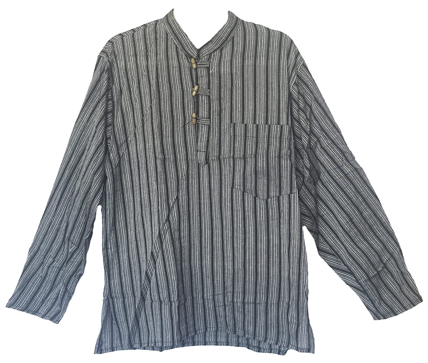 Men's Hand Loomed Black Stripe Cotton Banded Collar Tunic