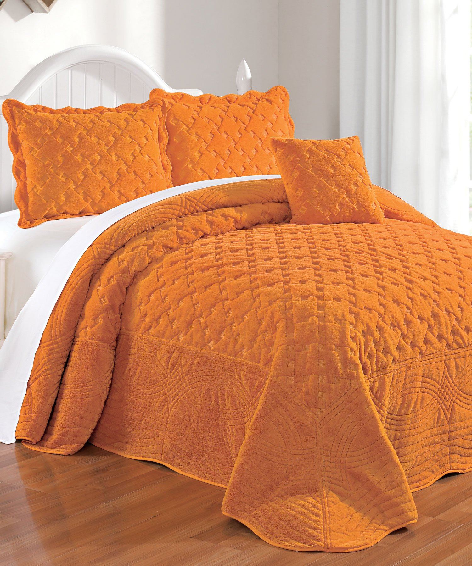 Serenta Faux Fur Quilted Tatami 4 Piece Bedspread Set, King, Apricot by Home Soft Things