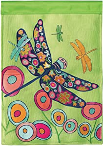 Magnolia Garden Butterfly Green Pink Orange 29 x 42 Polyester Large Outdoor House Flag
