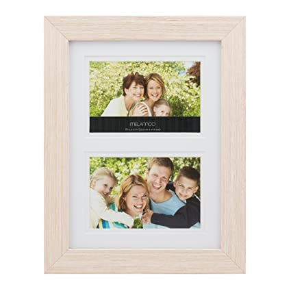 Amazon.com: MELANNCO 2-Opening Natural Wood Frame, 10-Inch-by-13 ...