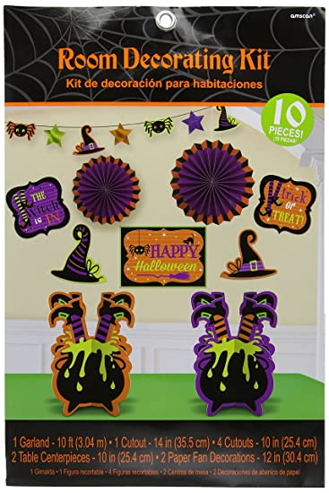 friendly witch halloween trick or treat party room decorating kit paper pack of 10
