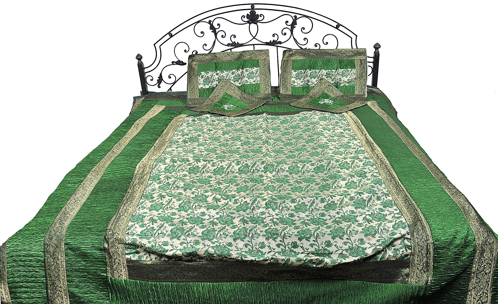 Five-Piece Banarasi Bedspread with Woven Flowers All-Over and Brocaded Border - Art Silk - Color Gold And Green Color