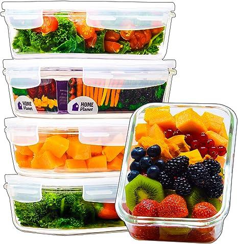 Home Planet® Recipientes de Cristal para Alimentos (840ml X 5)   Libre de BPA Tapa   Tupperware para microondas   Ideal como Porta ...