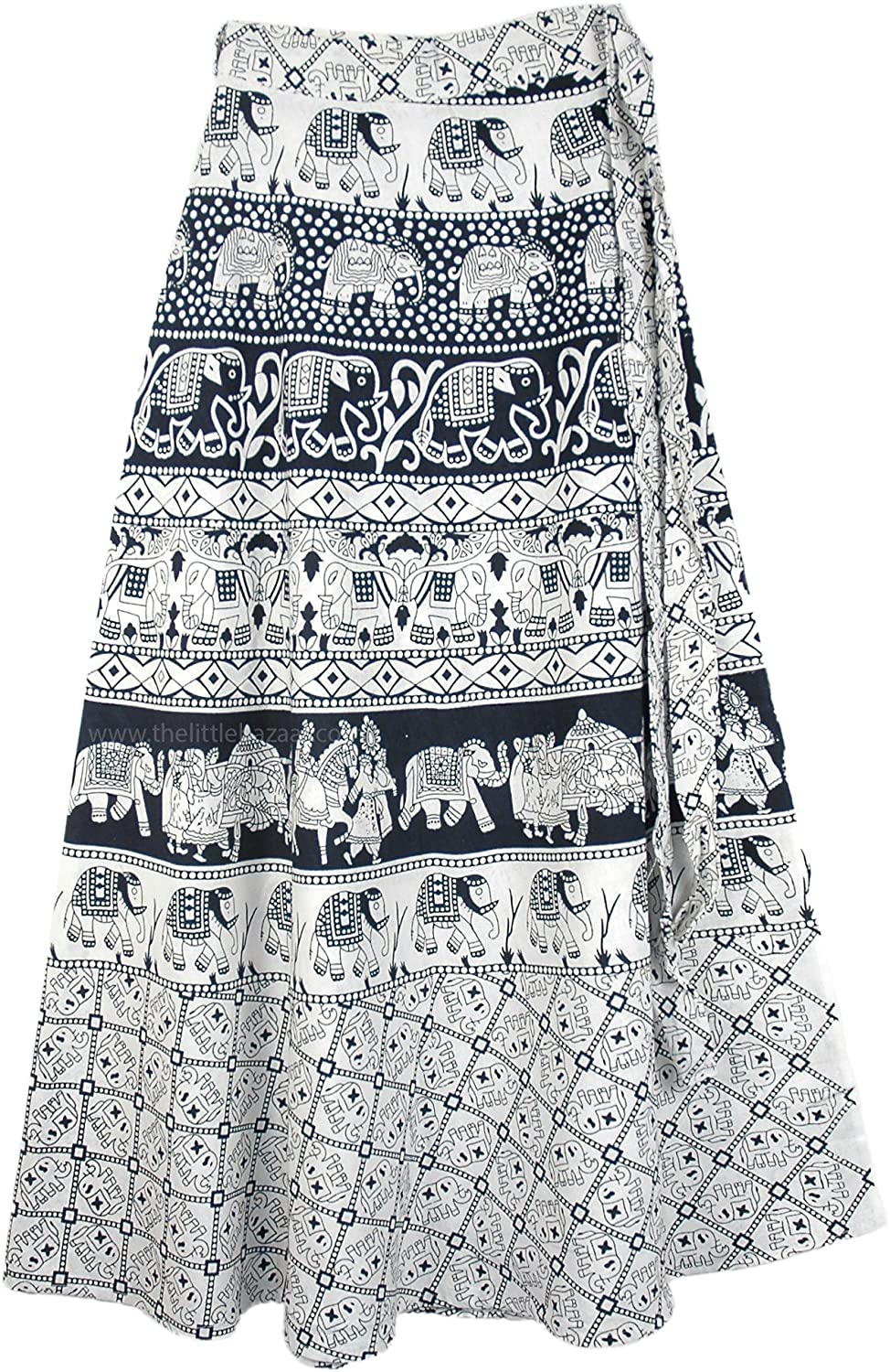 """TLB - Indian Block Print Long Skirt with Elephant Procession Print - L:37""""; W:28""""- 40"""""""