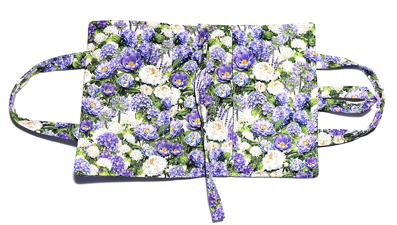 Hydrangea Quilted Romance,SNUG Small Book Cover,Attached Bookmark,Carry Handles,for book up to 6.5 x 4.25 x 1.5,Fabric Button Closure
