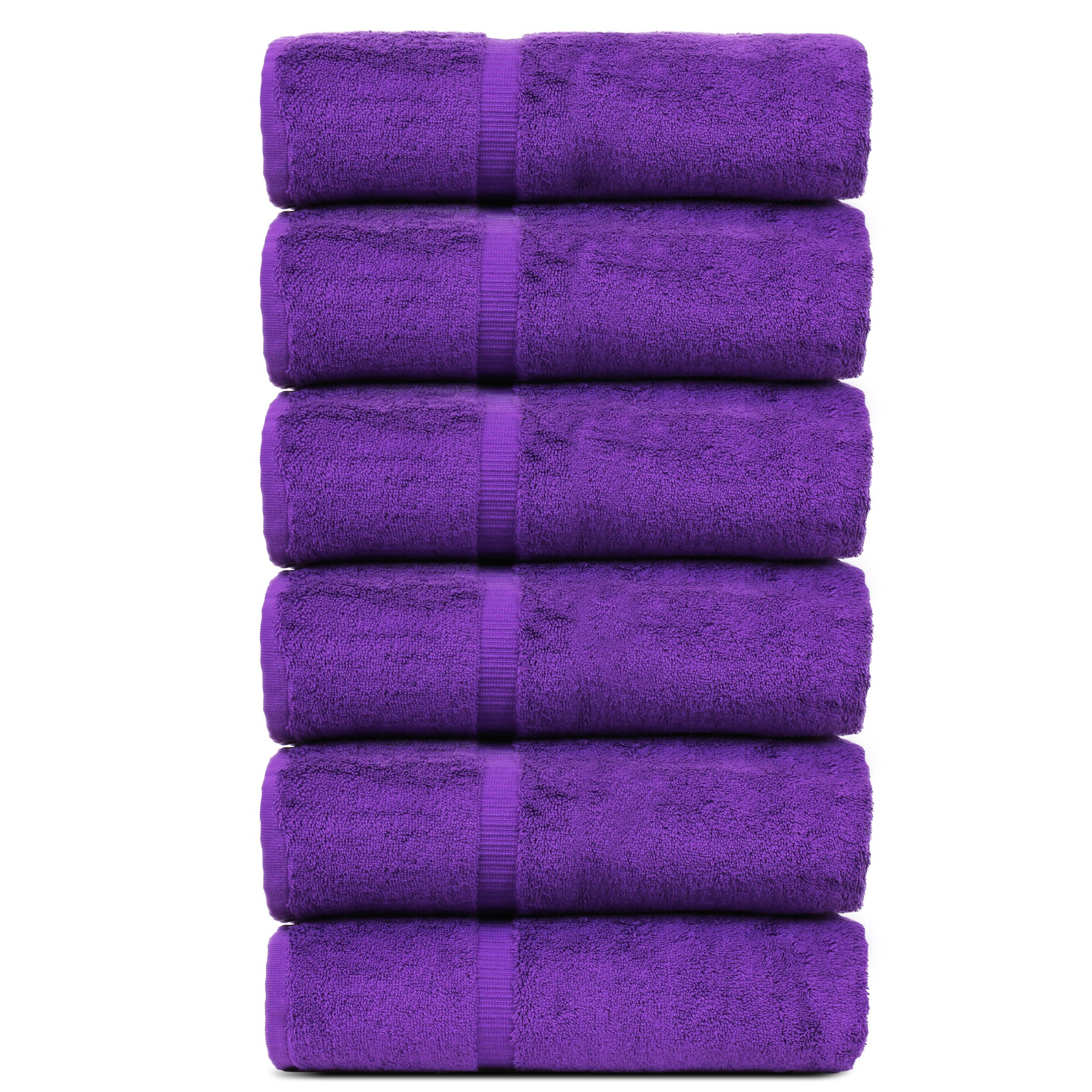 BC BARE COTTON Luxury Hotel & Spa Towel Turkish Cotton Hand Towels - Eggplant - Dobby Border - Set of 6