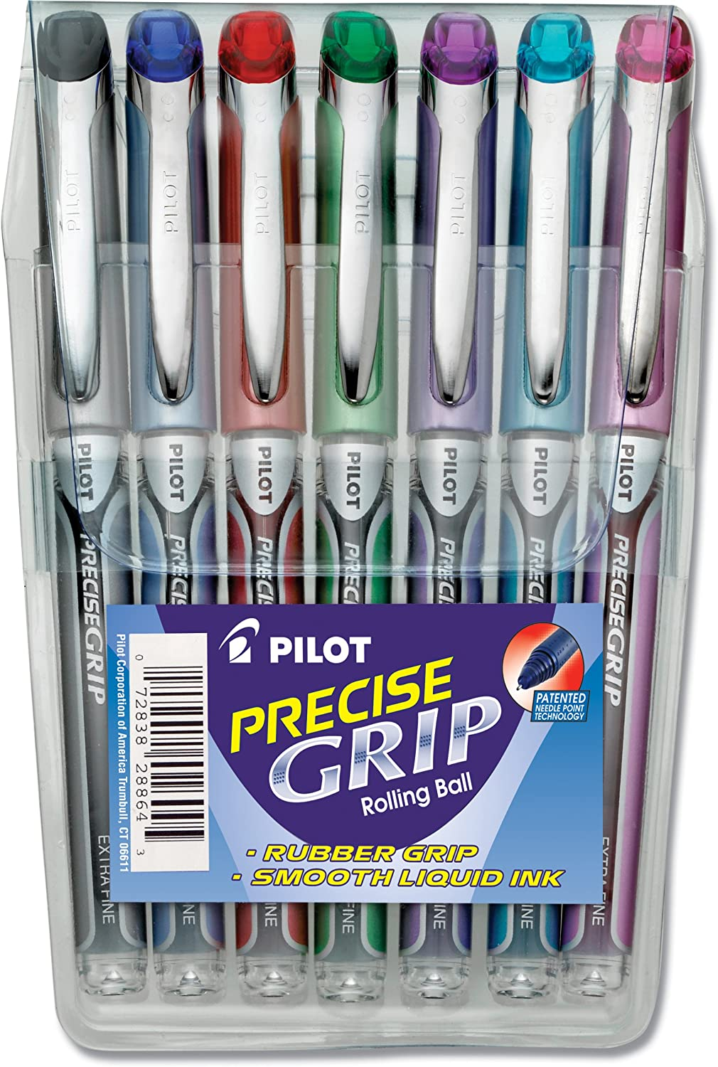 Amazon.com: Pilot Precise Grip Liquid Ink Rolling Ball Pens, Extra Fine  Point, 7-Pack Pouch, Black/Blue/Red/Green/Purple/Turquoise/Pink Inks  (28864): Office ...