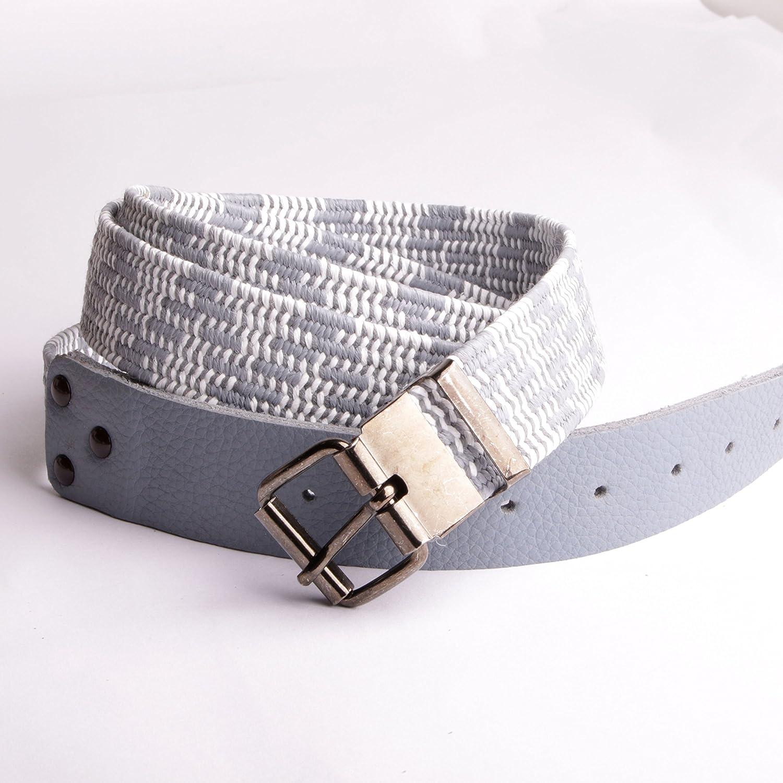 Ceinture moderne élastique embout cuir gris boucle ajustable à la longueur accessoire made in France.